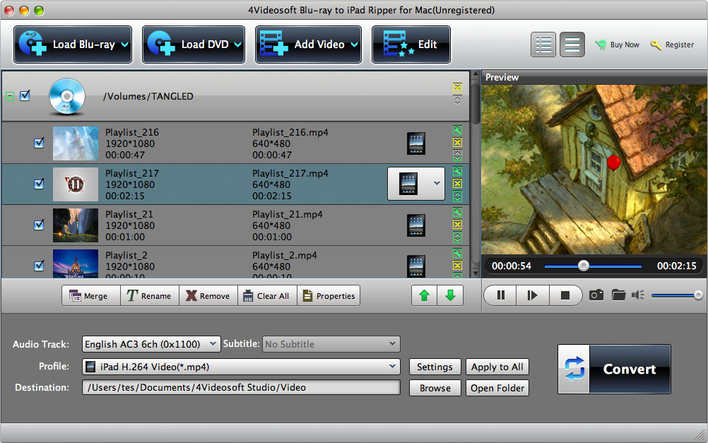 Blu-ray to iPad Ripper for Mac screenshot