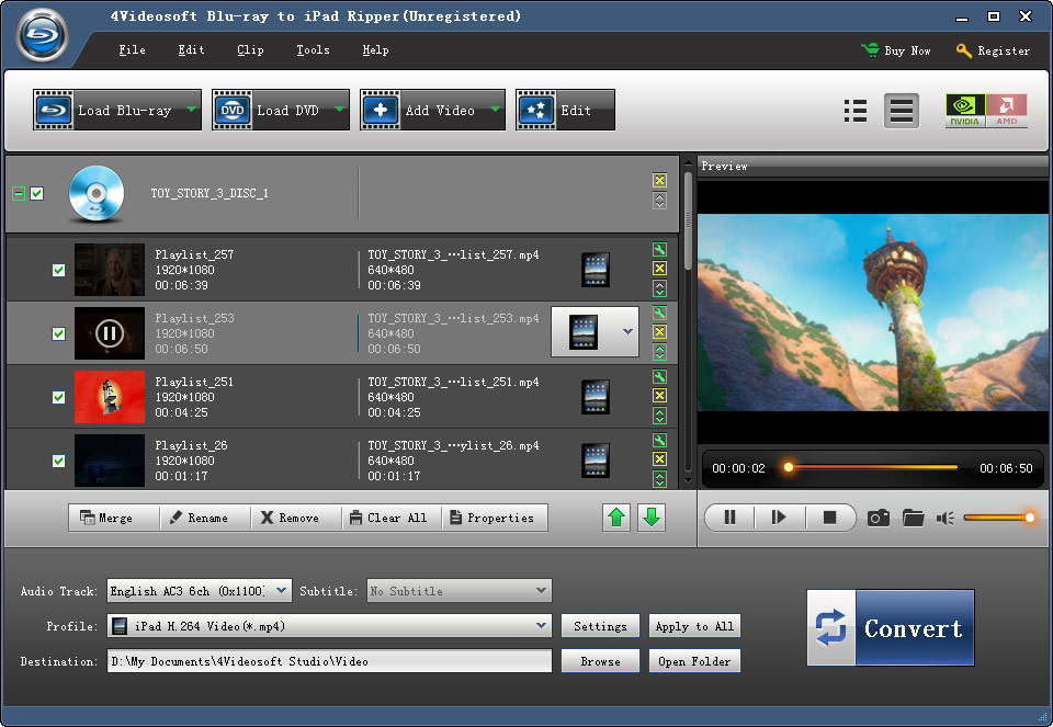 Blu-ray to iPad Ripper screenshot