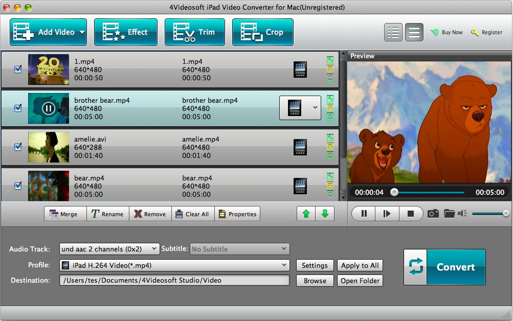 iPad Video Converter for Mac screenshot