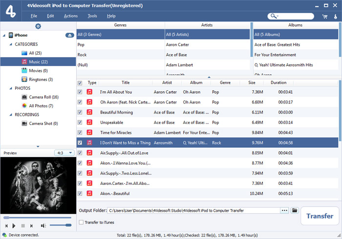 iPod to Computer Transfer screenshot